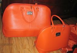 Set New JM New York Peachy Orange Handbag Purse & Carry On B