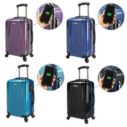 US Traveler Smart USB EZ-Charge Carry-on Spinner Luggage Sui
