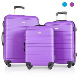 3 Pcs Luggage Set Travel Suitcase with Spinner Wheels & Ligh